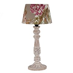 Light & Living Floral Shaded Carved Column Table Lamp