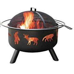 Landmann USA 28347 Big Sky Fire Pit Wildlife Black