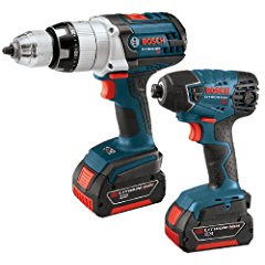 Bosch CLPK221-181 18-Volt Lithium-Ion 2-Tool Combo Kit with 1/2-Inch Brute Tough Drill/Driver Impact Driver 2 Batteries Charger and Case
