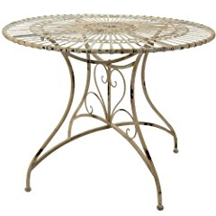 Rustic Circular Garden Table - Distressed White