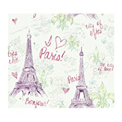York Wallcoverings PW3911 Girl Power 2 Paris Wallpaper White Background/Purple/Green