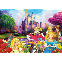Princess Photo Wallpaper XXL Poster - Disney Wallpaper - Wall Mural- Princesses in Front of a Castle- 80 X 55 Inch