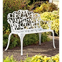 Powder-Coated Aluminum Grape Vine Vintage-Style Garden Bench in White
