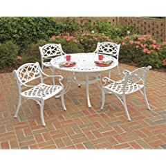 Home Styles 5552-308 Biscayne 5-Piece Dining Set with Round Table and Arm Chair White Finish 42-Inch