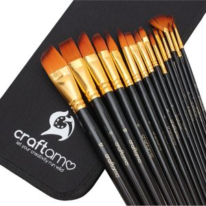 Artist Paint Brushes Set - 15 Artist Brushes with a Paint Brush Holder / Pop Up Stand Included by Craftomo